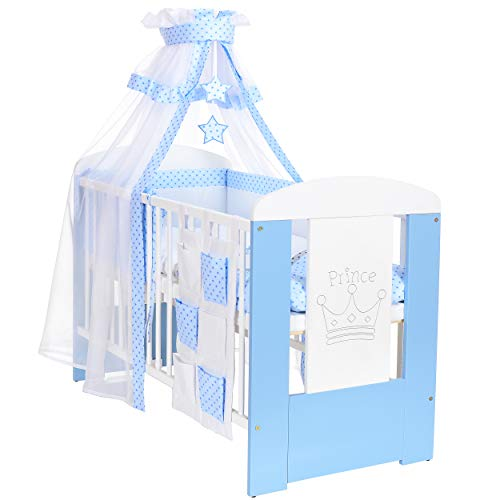 LCP Kids - 9 teiliges Baby Bettwäsche Komplettset mit Himmel, Nestchen - Baumwolle - geprüfte Textilien, Motiv gestickt: Prinzen Krone