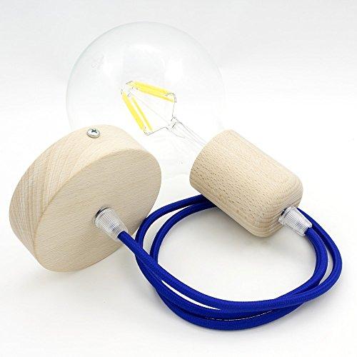 CD Cables-Lampada veerspanner hout slinger kleurrijke textielkabel blauw 1 meter