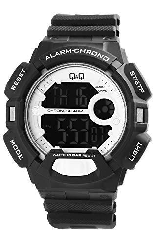 Q&Q Reloj de pulsera para hombre, color blanco y negro, pantalla digital negativa, silicona, cuarzo, reloj de pulsera