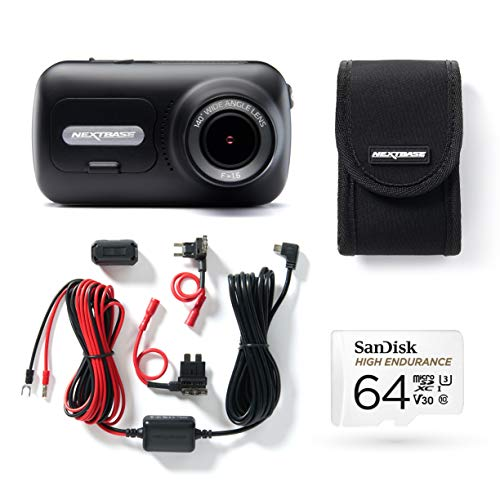 Nextbase 322GW Full 1080p/ 60fps HD In Car Dash Cam Camera -GPS -WIFI - Bluetooth- SOS Emergency- Black, Bundle Kit with Click & Go Mount, Hardwire Kit, 64GB SD Card and Case Included