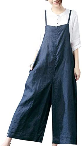 YESNO Women Casual Loose Long Bib Pants Wide Leg Jumpsuits Baggy Cotton Rompers Overalls with product image