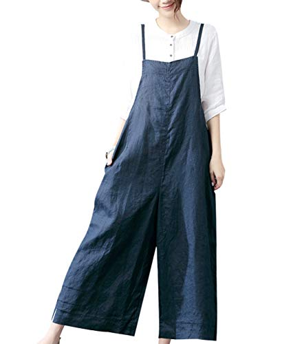 YESNO Women Casual Loose Long Bib Pants Wide Leg Jumpsuits Baggy Cotton Rompers Overalls with Pockets (L PZZTYP2 Navy Blue)