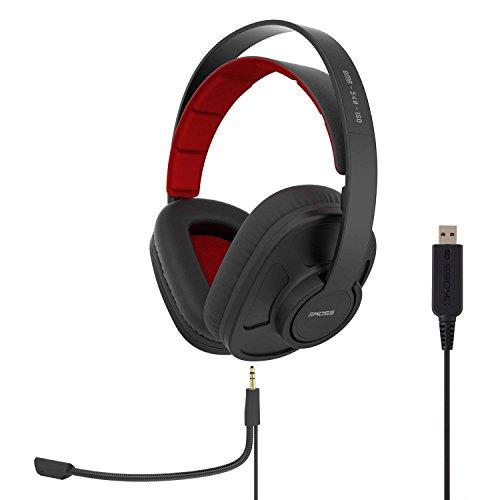 Koss GMR-540-ISO - Auriculares USB para videojuegos, dos cables con micrófono incluido, color negro (cierre trasero, USB)