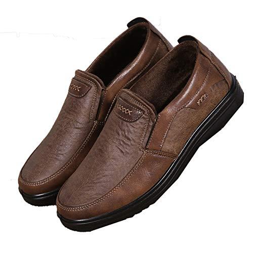Zapatos de Negocios para Hombres para Ancianos, Mocasines de Cuero PU sin Cordones, cálidos y cálidos, Otoño Invierno, Zapatos Planos Informales