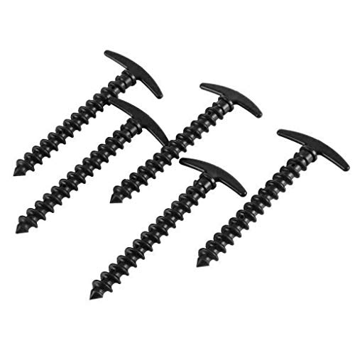 Qinf 10pcs Outdoor Lightweight Plastic Nails Plastic spiral Snow Muddy Ground Spiral Screws Camping Tent Peg Strake