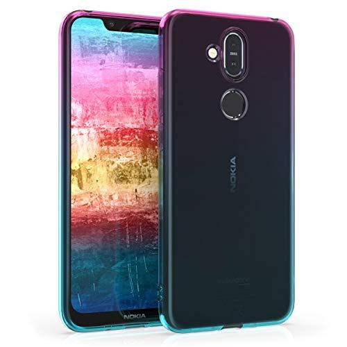 kwmobile Hülle kompatibel mit Nokia 8.1 (2018) / X7 - Handyhülle - Handy Hülle Zwei Farben Pink Blau Transparent