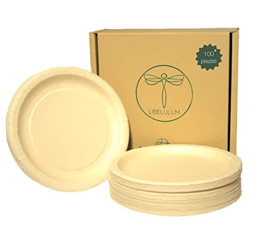 LIBELULUM pack de 100 platos de bambu desechables, ecologicos y compostables de 20 cm de diametro.