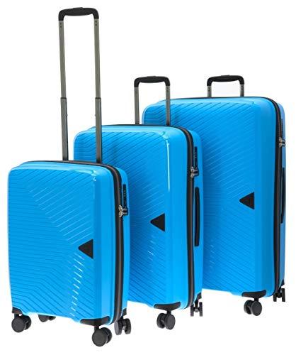 Davidts S.A. Kofferset Hartschalenkoffer 3 TLG TSA Schloß Blau Hellblau leicht Hochwertiges Design