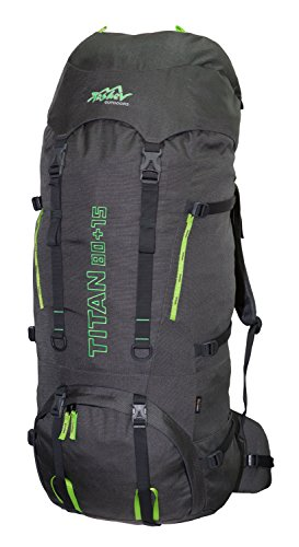 Tashev Outdoors Titan Trekkingrucksack Wanderrucksack Damen Herren Backpacker Rucksack groß 80L, in vielen Farben (Hergestellt in EU) (Grau & Grün)