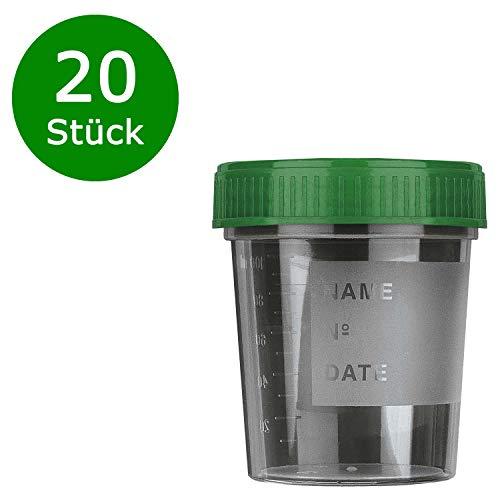 20 x Urinbecher | 120ml mit Schraubdeckel Grün | Urinprobenbecher Urin Probe Becher Mehrzweck Kunststoffbecher | Medizinbecher Mehrzweckgefäße