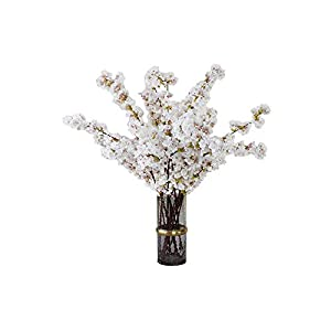 4pcs Artificial Flowers Cherry Blossom Silk Flowers Peach Branches Fake Flower Arrangements for Home Wedding Decoration ( White)