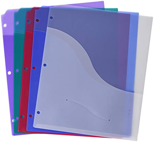 School Smart Poly Binder Pocket Divider, 8-1/2 x 11 Inches, Assorted Colors, Pack of 5