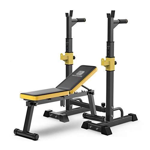Silla de Fitness Jaula de Sentadillas Tabla de Pesos Home Press de banca Banco de Peso de la Barra de Bastidor Aptitud Conjunto de Equipos Press de banca con Barra Estante Bancos (Color : Black)