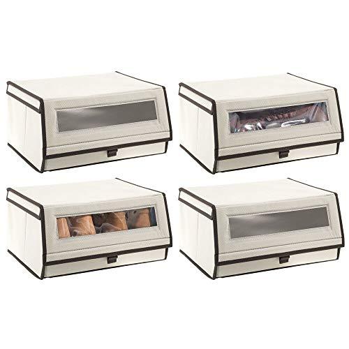 mDesign 4er-Set Schuhaufbewahrung aus Stoff – stapelbare Schuhbox mit Sichtfenster, Klettverschluss und Klappdeckel – Aufbewahrungsbox für den Schrank oder das Regal – cremefarben und Dunkelbraun