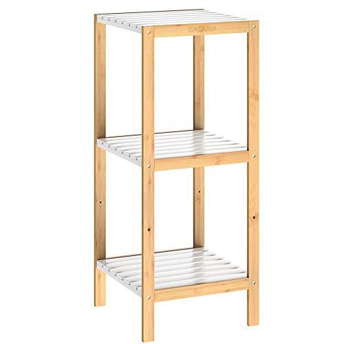 Casaria Badregal Bambus Standregal 3 Ablagen Badezimmer Holzregal Badezimmerregal Küchenregal Mehrzweckregal Holz Weiß