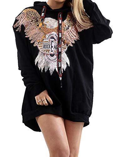 Hi Fashionz Mujeres Sudadera Eagle Rock Lentejuelas Sudadera con Capuc