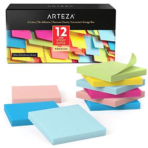 Arteza Notas adhesivas 76 mm x 76 mm   12 tacos de 100 hojas   Paquete de posits de colores surtidos   Reutilizables sin dejar marca   para la oficina y el hogar