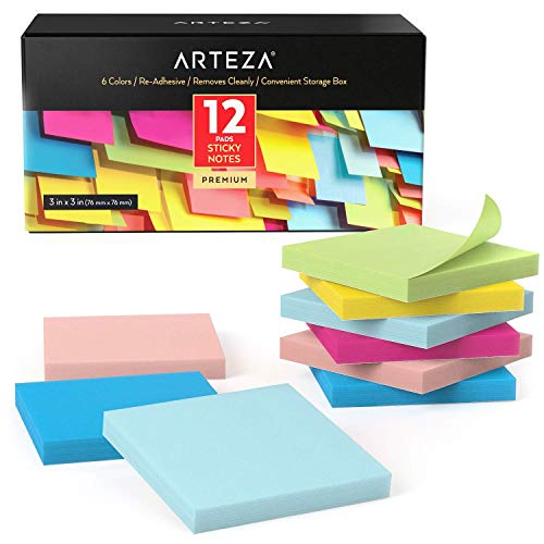 Arteza Boîte repositionable notes 76x76 mm | 12 x carnet de notes autocollantes | 100 notes par bloc papier | Memo papier couleur autocollant repositionnable | Pense-bête | Marque-pages | Sticky notes
