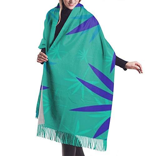 Hangdachang Emblema monocromo con hoja de marihuana. Bufanda de cachemira para mujer, chal, bufanda de cachemira, que cubre a las mujeres, 27 * 77 pulgadas