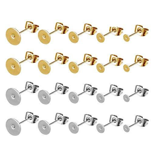 Bless 100 Pair Earring Posts Pad, Orecchini a Perno Accessori per Gioielli Fai-da-Te, Acciaio...