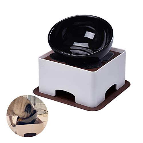 JOHOBA Elevated Dog Feeder for Bulldog & Flat-Faced Dogs,Tilted Bowl Effectively Avoids Flatulence & Indigestion,Double Non-Slip Mats 2 Cups