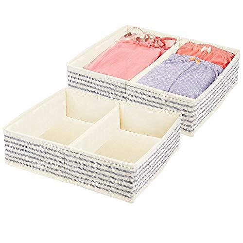 mDesign Juego de 2 organizadores de armarios – Caja de Almacenamiento con 2 Compartimentos para ordenar armarios o cajones – Caja de Tela para Guardar Calcetines, Ropa Interior, etc. – Crudo Azul