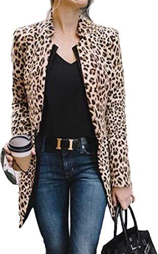 Women's Leopard Print Cardigan Long Sleeve Blazer Stand Collar Wool Blend PEA Coat