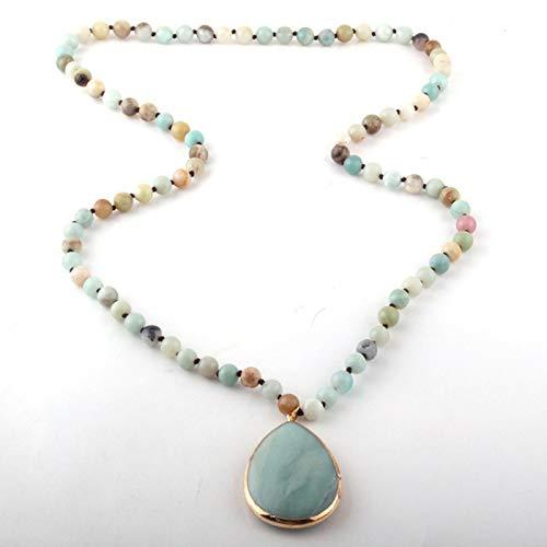 WDam Moda Bohemia Piedra Natural Tejida Piedra a Juego Collares Pendientes Colgantes Mujeres Collar con Cuentas, Azul, 86 cm