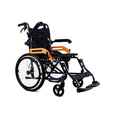 GSJZ Sports Wheelchair, Foldable Travel Wheelchair All Terrain, Light Foldable Manual Self-Propelled Aluminum Alloy Wheelchair Quick Release Wheel