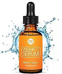 Det bästa C-vitaminserumet för ditt ansikte med 20% vitamin C + hyaluronsyra + vitamin E + jojobaolja. Naturliga AntiAging + Anti rynkor + Ekologisk Kollagen Booster Facial Serum med ekologiska ingredienser. Idealisk för användning med en Derma scooter. (30 ml)