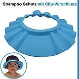 Shampoo Schutz für Kinder, Haare waschen ohne Tränen, für 0-9 Jahre, mit Clip-Verschluss, 100% wasserdicht, weiche Silikonhaut, Augenschutz und Ohrenschutz, Haarwaschhilfe, Kinder Duschkappe, blau