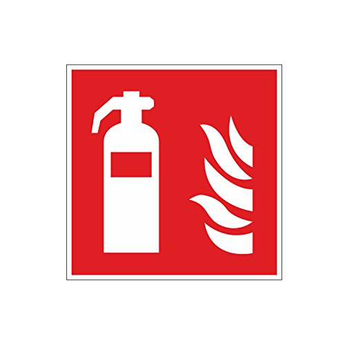 easydruck24de Brandschutzaufkleber F001: Feuerlöscher, 10x10cm, Art. hin_157, DIN EN ISO 7010, Hinweis, Achtung, Warnhinweis, Brandschutz, Feuerlöscher