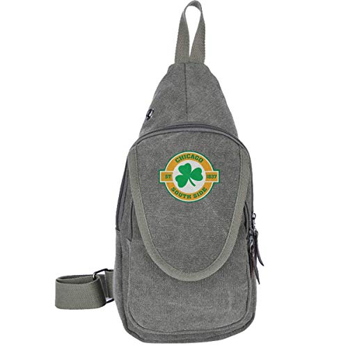 Chicago South Side Irish Canvas Brusttasche für Trekking Outdoor Sport Anti-Diebstahl-Rucksack für Männer und Frauen, Moosgrün