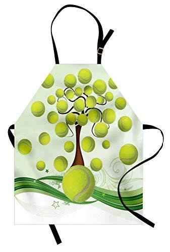 ABAKUHAUS Tennis Keukenschort, Tennisballen Pattern, Unisex Keukenschort met Verstelbare Nekband voor Koken en Tuinieren, Pale Groen Bruin Wit