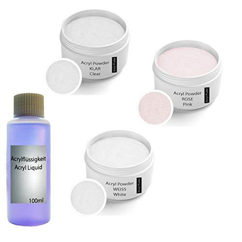 Acrylpulver Set inkl. Acrylflüssigkeit, klar 30g, Rosa 30g, weiß 30g - Arcylflüssigkeit 100m l- Acrylpulver Set - Acryl Puder Set - Acrylpuder Set