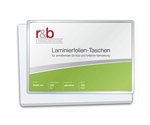 r&b FT-BC-250 Laminierfolien Business Card, 60 x 90 mm, 2 x 250 mic, 100 Stück