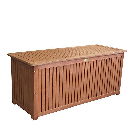 Wohaga® Gartenbox 133x58x55cm inkl. Innenplane Auflagenbox Kissenbox Gartentruhe Holztruhe Hartholz Eukalyptus Auflagentruhe - 4