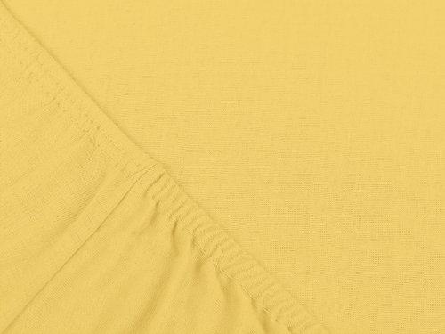npluseins klassisches Jersey Spannbetttuch – erhältlich in 34 modernen Farben und 6 verschiedenen Größen – 100% Baumwolle, 70 x 140 cm, gelb - 4