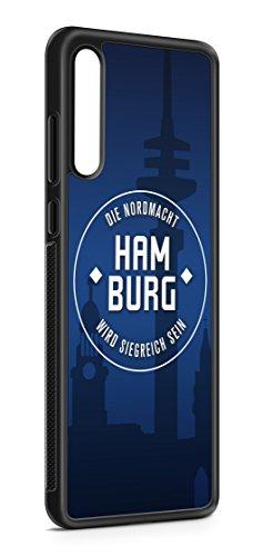 aina Kompatibel mit Samsung Galaxy A50 Silikon Handyhülle Flexibles Slim Case Cover Hamburg Skyline Motiv Bild Schwarz
