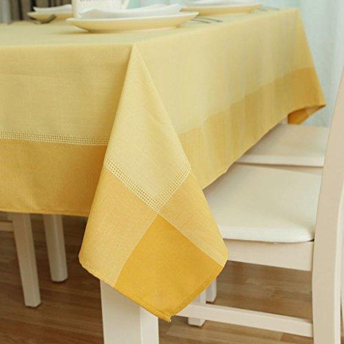 Artex Solide Couleur Coton Nappe Simple Pastorale Mode Restaurant À Manger Table Tissu Café Table Couverture 140 * 180 cm KKY-ENTER (Couleur : Le jaune)