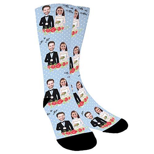 YanNanKe Calcetines Personalizados Foto,Personalizable Calcetines,Pon tu Foto en Calcetines para Hombre Mujer, Calcetines Divertidos, Calcetines de pareja, regalos de boda, aniversario