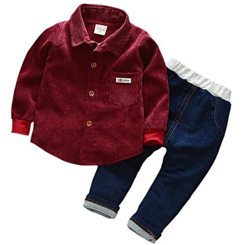 Gyratedream Jongens Shirt Jeans 2 Stks Kleding Set Lange Mouwen Topjes Denim Broek Lente Herfst T-Shirt Casual Broek Outfits voor 0-4 Jaar Kinderen
