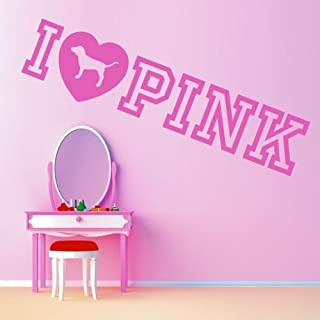 Diuangfoong Pink Victorias Secret I Love Pink Vinyl Wall Art Sticker Quote