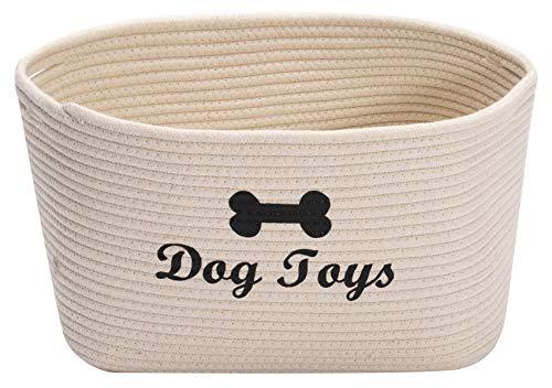Morezi Cesta de juguete de cuerda de algodón para perro con asa, cubo grande para perro, cama de mascota, caja de juguetes para mascotas, perfecta para organizar juguetes de mascotas, mantas, correas