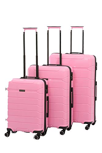 Glüückskind 3 teiliges Kofferset Trolley Koffer Set in 4 Farben aus Polypropylen (Pink)