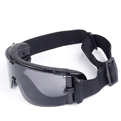 LINDANIG US-Militärbrille mit Feld-Explosionsdämpfergläsern für Motorradbrillen (Farbe : Schwarz)