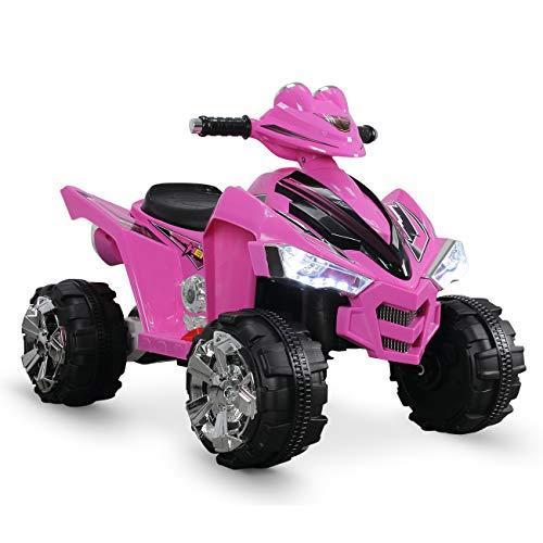 Kidzone 12V Kids Battery Powered Electric 4-Wheeler Quad Toddler Ride-On ATV w/ 2 Speeds LED Lights Treaded Tires, ASTM F963 Certified, Pink