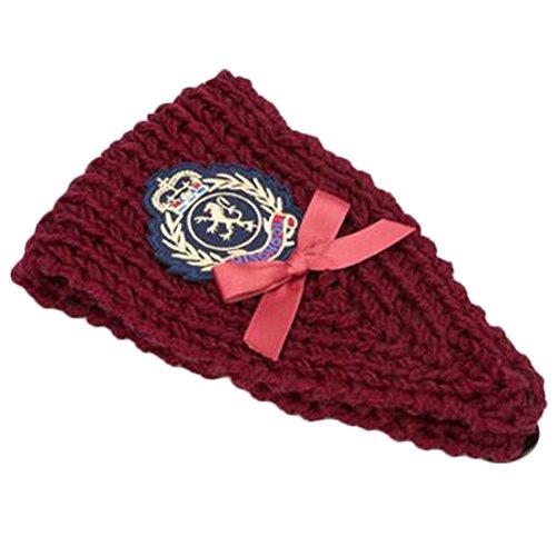 Mesdames tricoté bandeau bandeau cheveux tressé chaufferette, Vin rouge