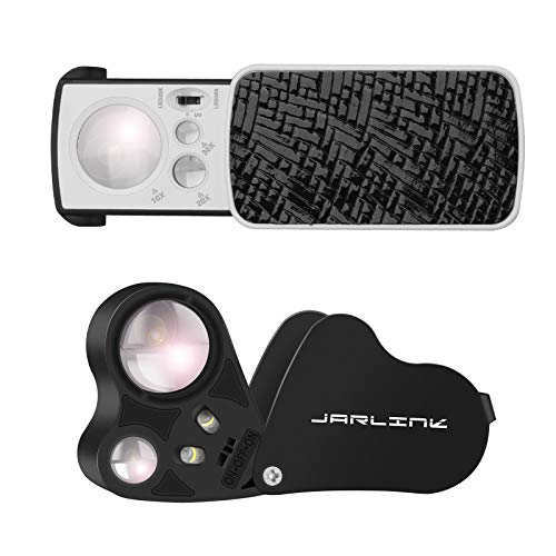 JARLINK 2 Pack Jewelry Loupes, 30X 60X Illuminated Loupe Magnifier and Foldable Jewelry Magnifier with Bright LED Light for Gems, Jewelry, Coins, Stamps, etc (Black)