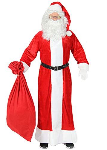 Foxxeo 5-teiliges Premium Weihnachtsmann Kostüm mit Mantel für Herren - Größe XL-XXL